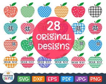 Apples Svg Apple Monogram Frames Svg Patterned Apple Svg Chevron Apple Svg Cut Files Split Apple Monogram Svg School Teacher Svg File Dxf