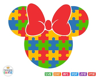 AUTISM SVG, Minnie Puzzle Ears with Bow Svg, Shirt Decal Digital Cuttable Layered File for Cricut, Silhouette Dxf Png Pdf Jpg Eps Clip art