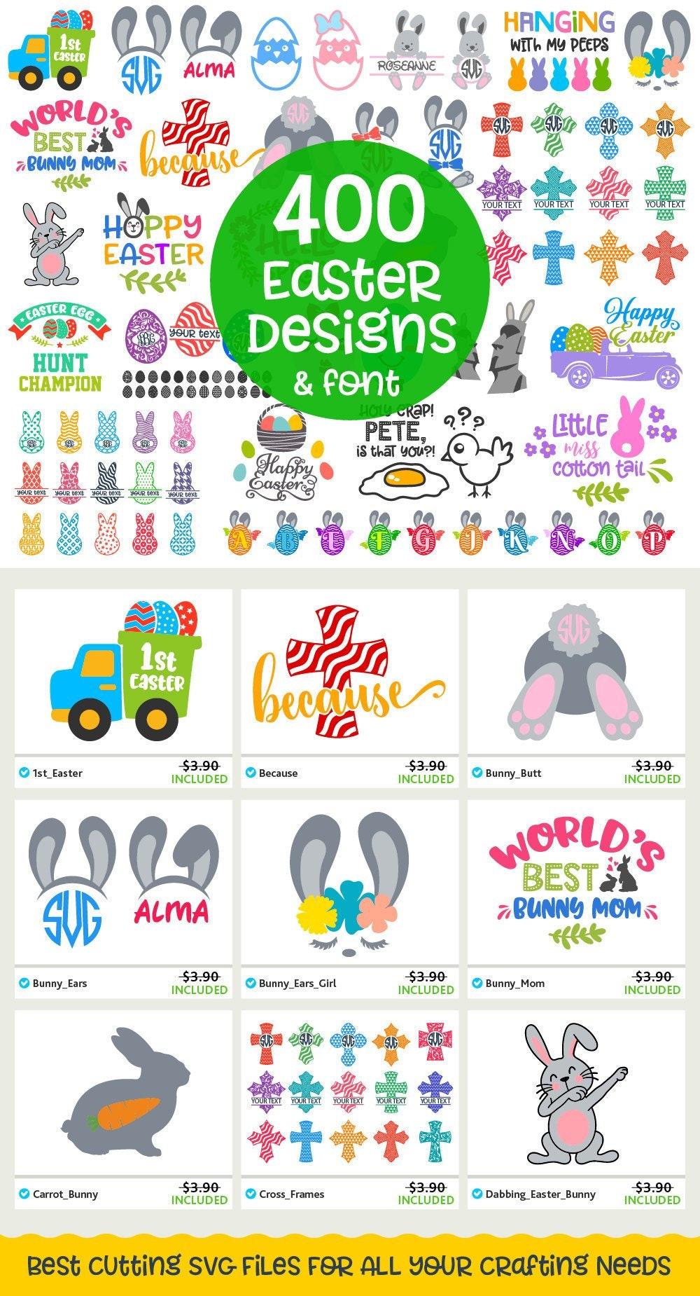Easter Svg Bundle Svg Cut Files Set Easter Bunny Cross Eggs Etsy