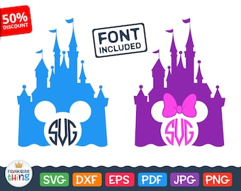 Mickey Castle Svg Silhouette Monogram Frame with Minnie Mouse Ears Svg Disney Initial Border cut files for Cricut, vinyl decal clip art dxf