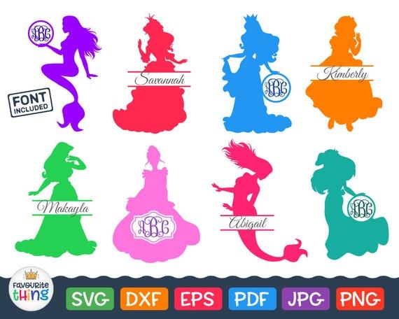 Disney Princess Svg Monogram With Cinderella Mermaid Ariel Etsy