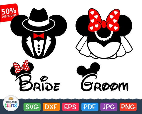 disney wedding svg files mickey mouse groom svg minnie mouse etsy rh etsy com Minnie Mouse Bow Clip Art Mickey Mouse Outline Clip Art