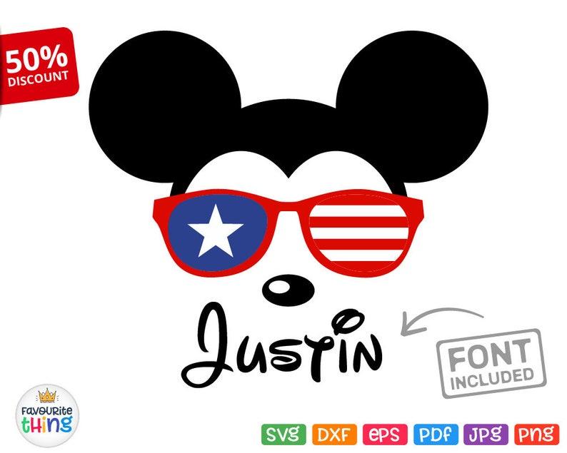 b7e1d5215d6 Mickey Sunglasses Svg Disney Baby Shirt American Flag Design Cricut  Silhouette Iron on cut file Dxf Png Pdf July 4th ...