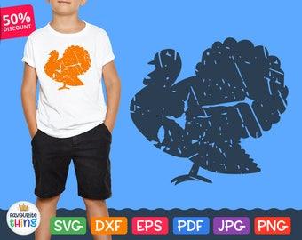 Svg Turkey Silhouette, Turkey Grunge Clip art cut file, Thanksgiving Turkey Svg, Cricut vinyl designs downloads Dxf Png Eps Digital Image