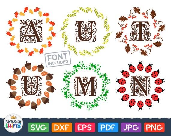Fall Wreath Monogram Svg Halloween & Thanksgiving Frames cut | Etsy