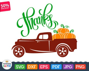 Thanksgiving Svg Truck with Pumpkins Svg Fall harvest vintage car Svg cut files Clip art for Cricut, Silhouette dxf png eps Autumn Designs