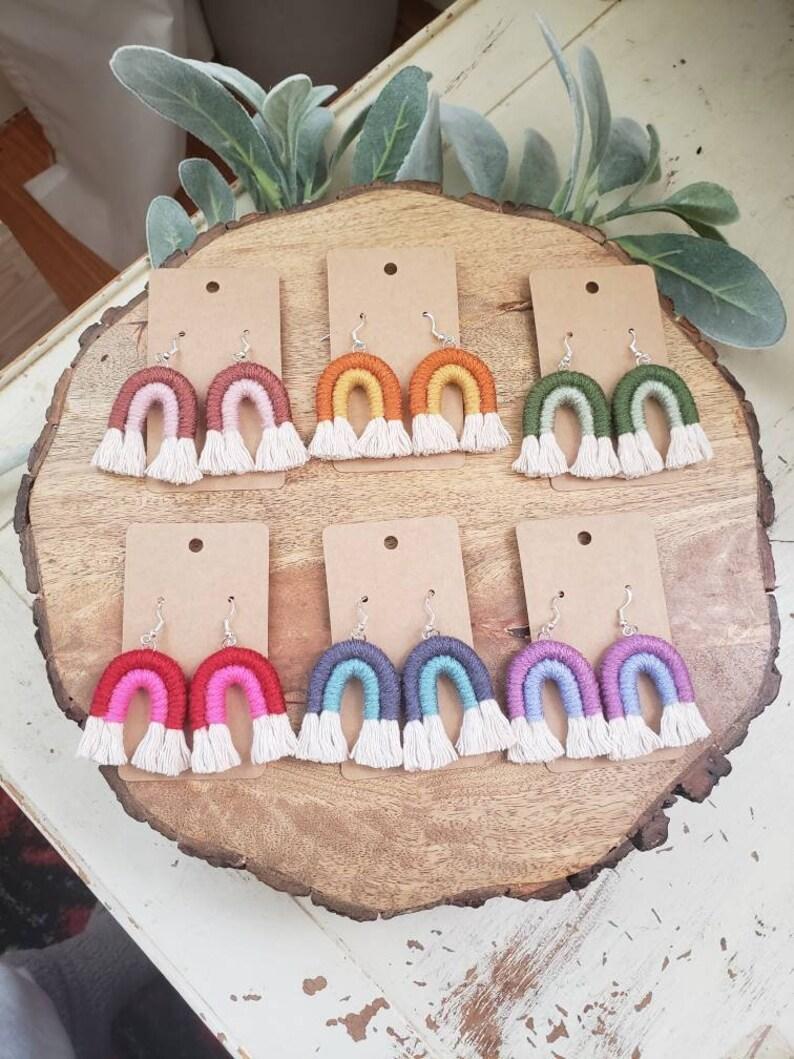 Macrame rainbow earrings rainbow earrings rainbow tassel image 0