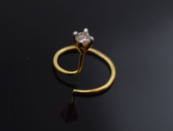18k Solid Gold Nose Pin Nose Ring Simple Diamond Design Etsy