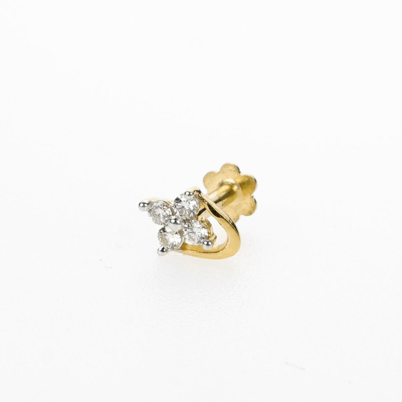 18k Stunning Modern Diamond Solid Gold Nose pin Unique Design Comfort Fit NP19