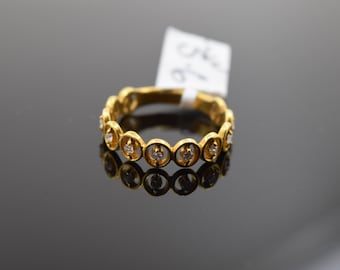 22k 22ct Elegant Exotic Round Design Solid Gold Ring Stone Band For Ladies r2095
