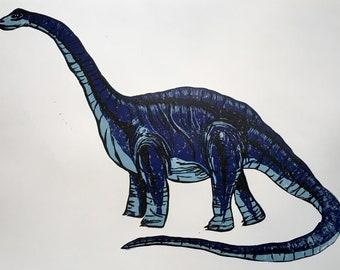 Original Dinosaur Print Diplodocus - Hand Carved Lino Hand Printed - A3 size