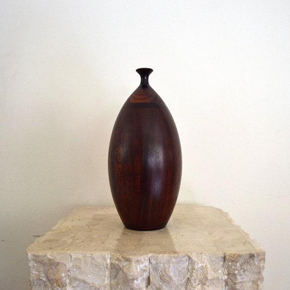 Vintage Wood Turned Bud Vase Handcrafted Rosewood Hollow Etsy