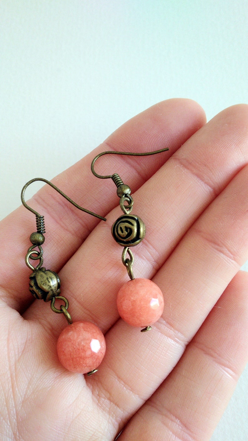 Brass and a pink natural stone One of a kind Dangle earrings