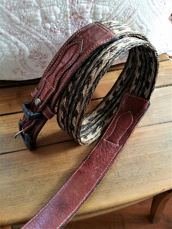 1980s Horsehair and leather belt