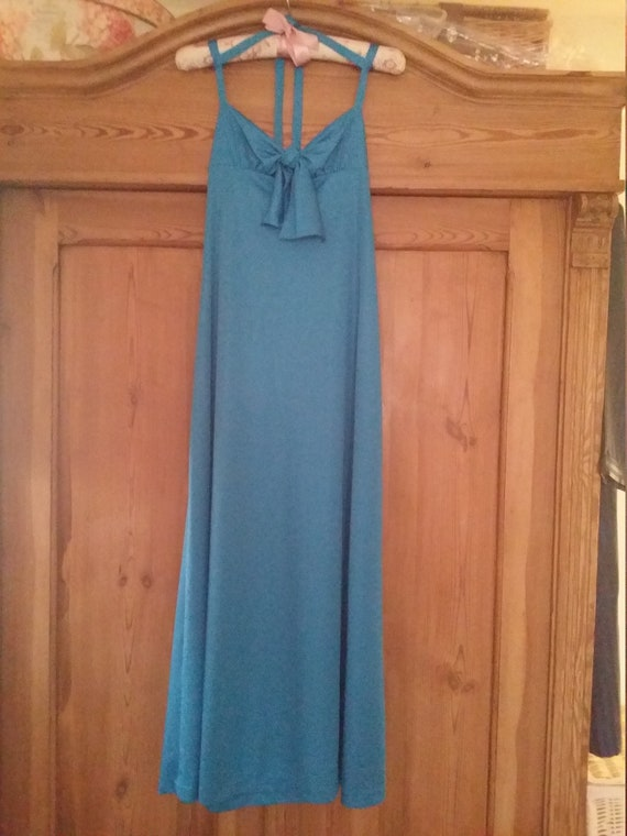 1970s Cocktail dress royal turquoise blue