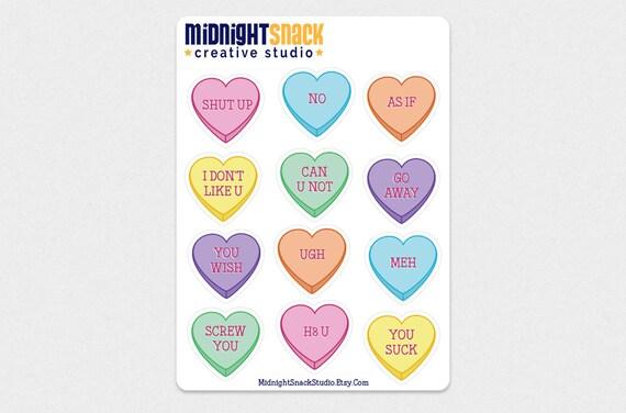 Conversation Hearts Sticker Sheet Anti Valentine S Day Etsy