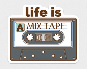 Mix Tape Sticker | Cassette Tape Vinyl Sticker | Old School Music | Music Lover Gift | Retro Music Sticker | Play List | 80s 90s Sticker