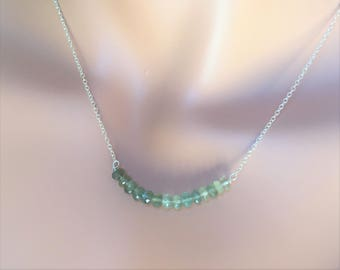 Moss aquamarine bar necklace