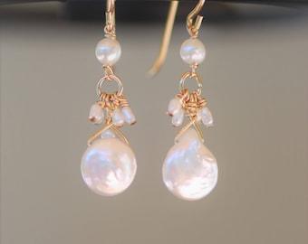 Fresh water pearl drop earrings on 14k solid  gold ear wires