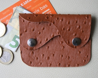 Card holder, mini wallet faux leather ostrich caramel. Christmas gift idea.