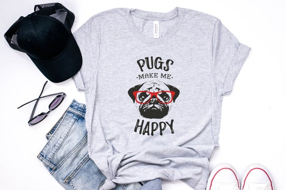 PUGS NOT DRUGS Retro Pug Tee Mens TShirts Gifts for her Pug T-shirts Gifts for him Novelty Christmas gifts Pugs Pug Tee Pug Dogs