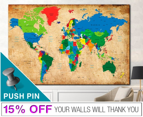 Elegant Weltkarte Push Pin Wort Weltkarte Leinwand Leinwand Weltkarte | Etsy