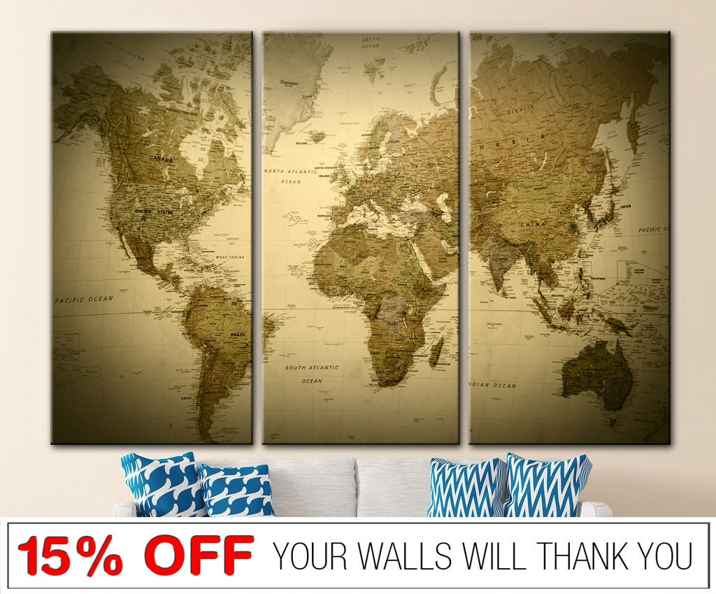 Vintage world map Old world map Canvas world map Wall art   Etsy