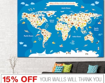 Canvas world map etsy gumiabroncs Gallery