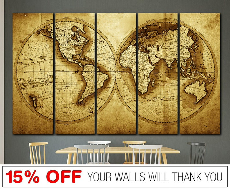 Map Of The World In Text Typography Canvas Print Framed Wall Art Picture