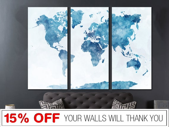Blau Karte Leinwand Weltkarte Wort Weltkarte Leinwand | Etsy