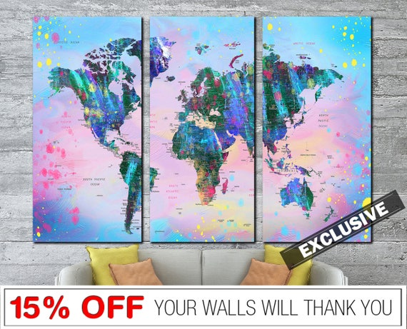 Colorful World Map Art.Colorful World Map World Map Print Abstract World Map Map Art Etsy