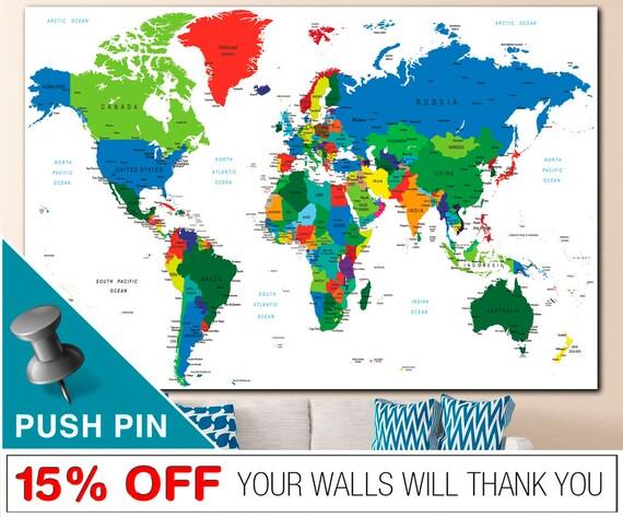 Drücken Sie Pin Weltkarte Wort Weltkarte Leinwand | Etsy
