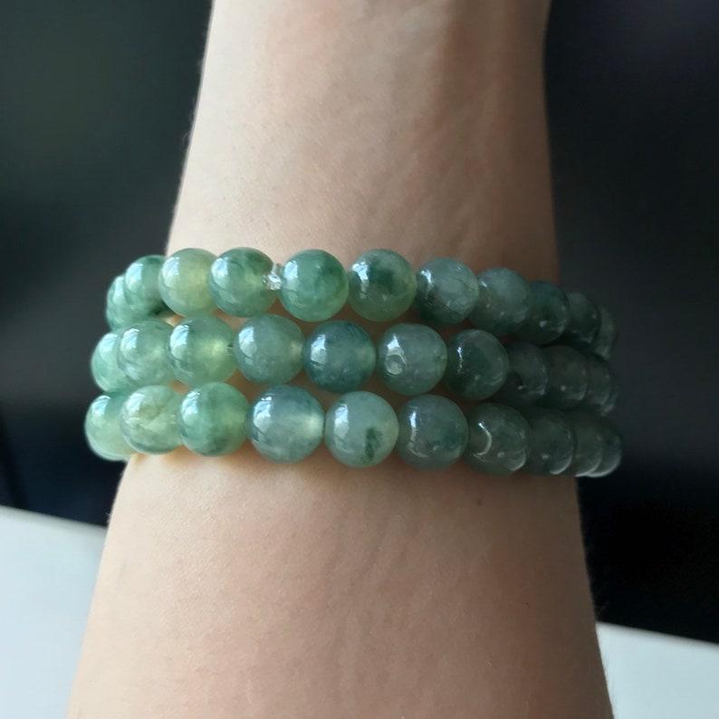 Natural Burmese Jadeite Authentic Type A 6mm Jade Bead Bracelet Translucent Green Beads