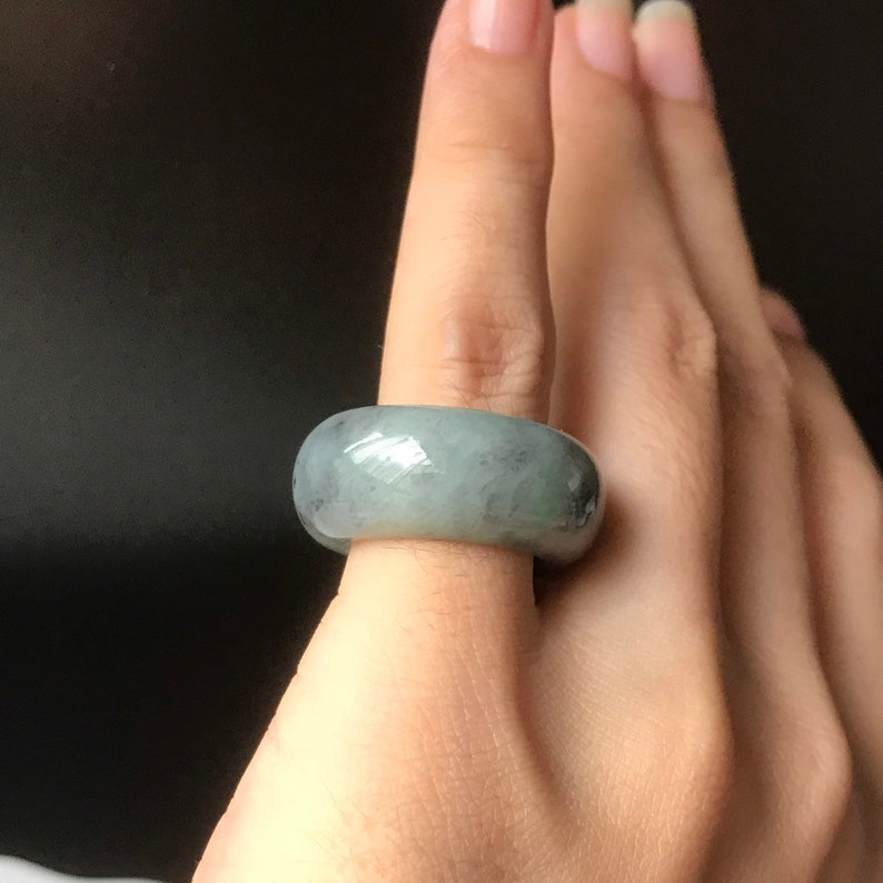 34 Translucent Burmese Jadeite Grade A Rare Grey Green Abacus Ring for unisex Jade ring US 5