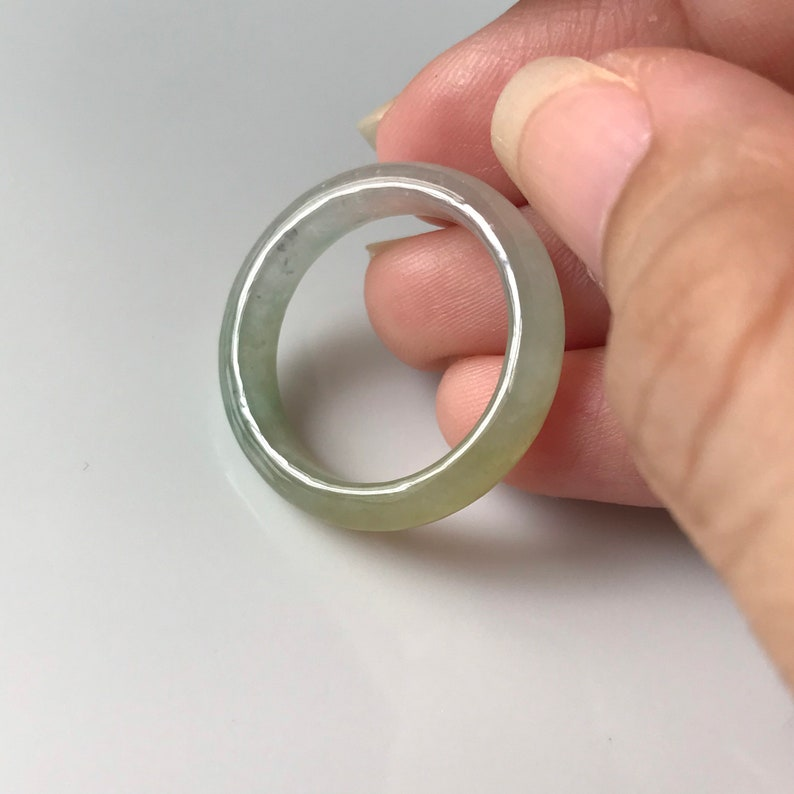 US8 34 Jadeite Ring Translucent Milky Green with Yellow MYANMAR Jadeite Natural Jade Type A band ring