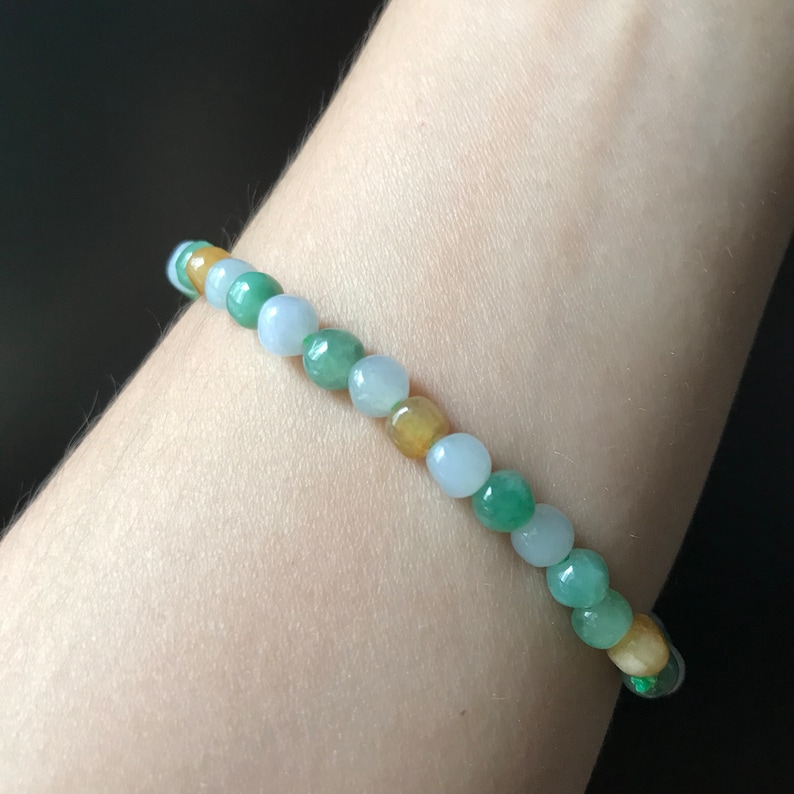 Jadeite bead Bracelet 5mm Burnese Type A Natural Jadeite Jade