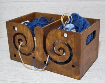 Large wooden yarn box - Wood  yarn bowl - Crochet bowl - Gifts for knitters