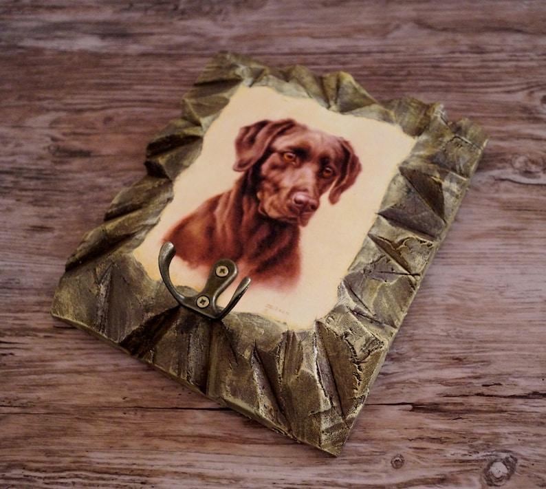 Labrador retriever Dog leash hook  Industrial wall decor Imitation stone