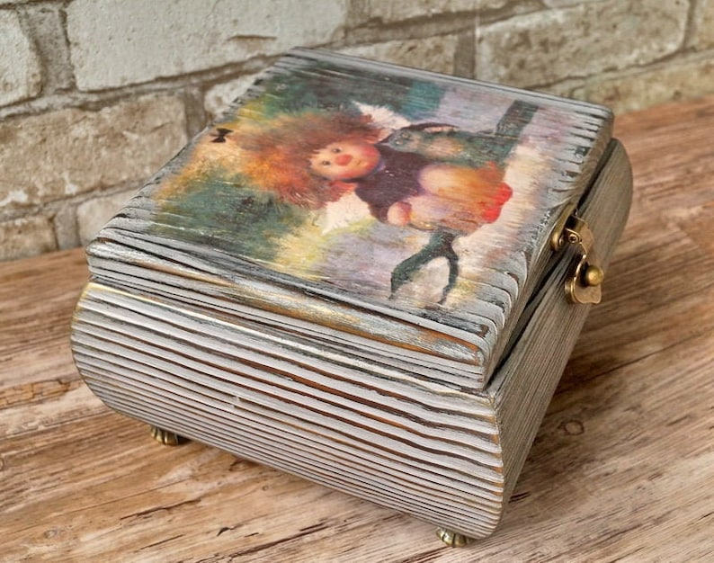 Decorative box with lock 5th anniversary gift for her Storage box with hinged lid Decoupage box