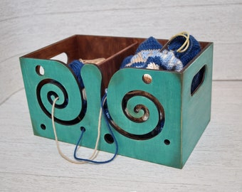 Large wood  yarn bowl - Turquoise wooden yarn box - Crochet bowl - Gifts for knitters