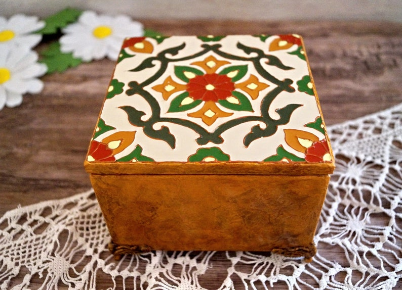 Small jewelry box Burnt orange colour