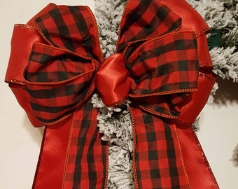Wreath Bow, Large Gift Bow,  Fabric Bow, Pew Bow, Chair Bow, Bow Decoration,  Wedding Bow, Tree topper Bow, Woodsman Plaid Bow