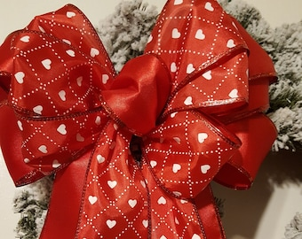 Wreath Bow, Large Gift Bow,  Fabric Bow, Pew Bow, Chair Bow, Bow Decoration,  Wedding Bow, Tree topper Bow, Valentines' Tree Topper Bow