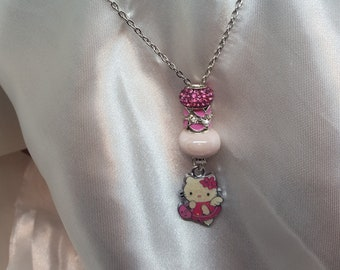 Hello Kitty Necklace, Kitty Jewelry, Silver necklaces, Hello Kitty Charm, European Beads, Pendant Charms