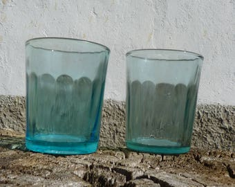 Shot drink glasses colorful glasses vodka glasses retro barware vintage glassware drinking glasses retro party serving turquoise glasses