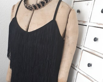 realy pretty little black dress flapper girl style europe 40 / usa can 10  edwardian style