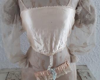 precious  antique pink  satin brassiere bra brallette edwardian shabby 1900 1900s flapper girl flappergirl 1920 1920s
