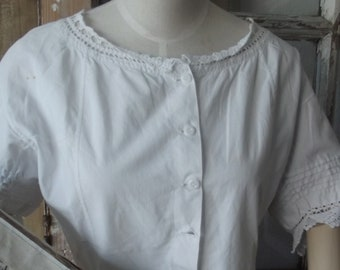 antique vintage edwardian corset cover 1900 1900's underwear blouse shabby french camisole white