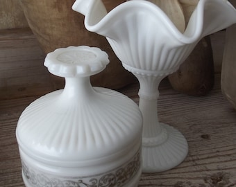 vintage old  french boudoir vanity dresser tray dish white