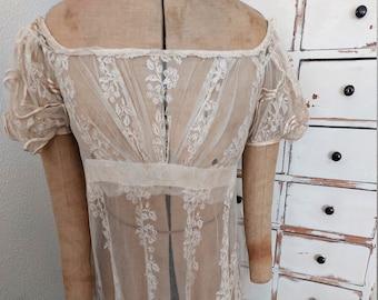 RARE antique regency dress 1820 1820's 1800 1800's 19th century early white weddingdress lace wedding